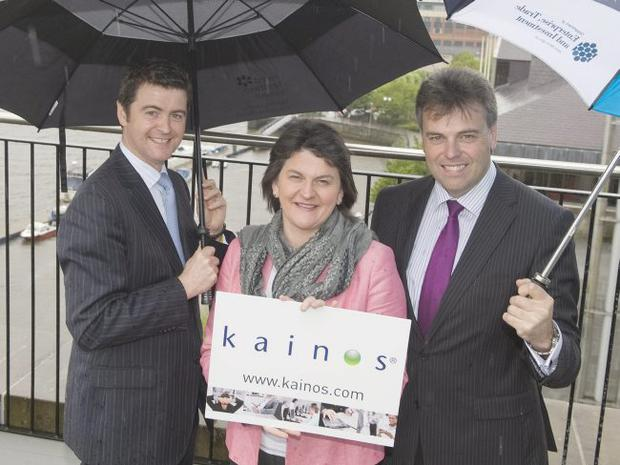 Brendan Mooney (left), Managing Director of Kainos with Enterprise Minister Arlene Foster and Alastair Hamilton the Chief Executive of Invest NI