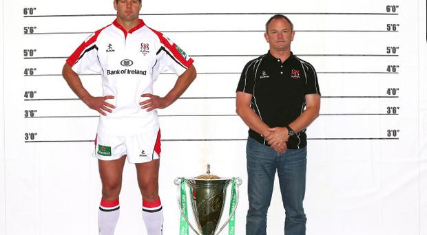 Ulster captain Johann Muller and coach Mark Anscombe at the launch of the Heineken Cup, a trophy Ulster came so close to winning last year