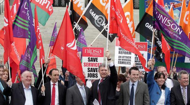 Vigorous opposition: anti-cuts protesters drum up support at Stormont against proposals from minister Nelson McCausland
