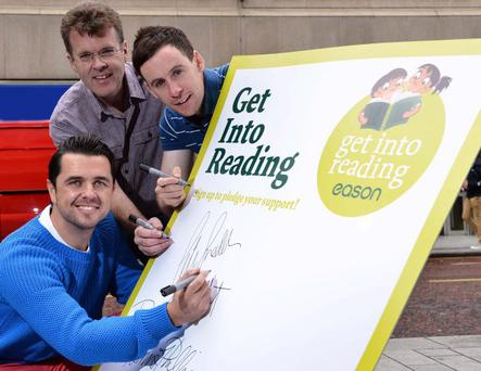 Pete Snodden and Connor Philips are joined by award-winning Belfast author Derek Keilty as they pledge their support for the Eason 'Get Into Reading' campaign which aims to highlight the importance of reading, especially with young children. The well-known trio are calling for people across Northern Ireland to pledge their support for the campaign at www.eason.com/getintoreading and to join in the weekly half-hour reading sessions called 'Eason Story Time' every Saturday at 11am in Eason stores across Northern Ireland.