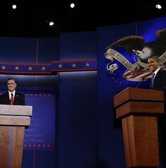 US President Barack Obama and Republican presidential candidate Mitt Romney take part in the first presidential debate in Denver (AP)
