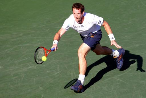 TOKYO, JAPAN - OCTOBER 05: Andy Murray of Great Britain plays a forehand in his match against Stanislas Wawrinka of Switzerland during day five of the Rakuten Open at Ariake Colosseum on October 5, 2012 in Tokyo, Japan. (Photo by Koji Watanabe/Getty Images)