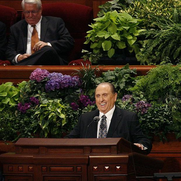 Thomas S Monson addresses the 182nd Semiannual General Conference for The Church of Jesus Christ of Latter-day Saints in Salt Lake City (AP)