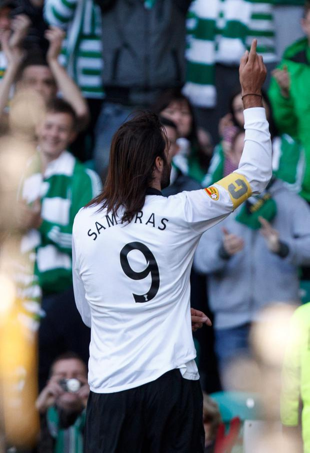 Celtic's Georgios Samaras celebrates scoring during the Clydesdale Bank Scottish Premier League match at Celtic Park, Glasgow