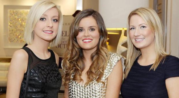 Belinda Condon, Naimh McGarrity and Laua Jones at the Merchant Hotels Fashion Tea in aid of the MRI Scanner Appeal.