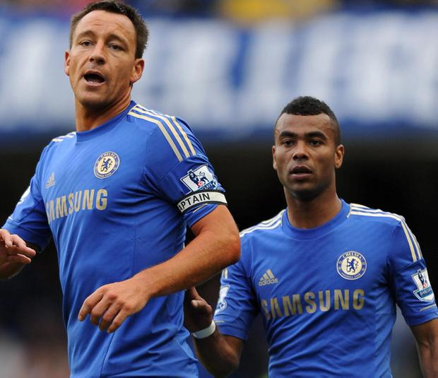 Chelsea captain John Terry (left) and left-back Ashley Cole pictured during the team's 4-1 win over Norwich on Saturday