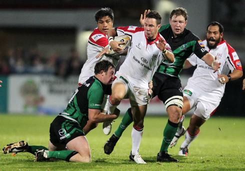 Ulster's Paddy Wallace tries to break through at Ravenhill