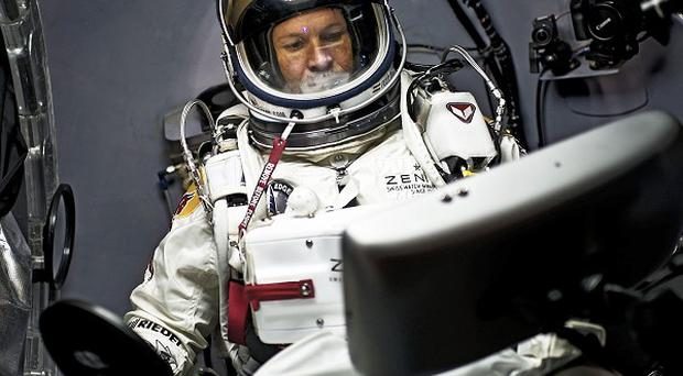 Skydiver Felix Baumgartner in the suit he hopes to make a world record jump with (AP)