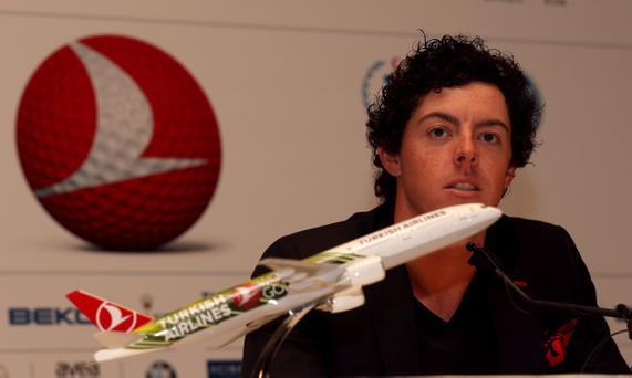 ANTALYA, TURKEY - OCTOBER 08: Rory McIlroy of Northern Ireland attends a press conference ahead of the Turkish Airlines World Golf Final at Antalya GC on October 8, 2012 in Antalya, Turkey. (Photo by Warren Little/Getty Images)