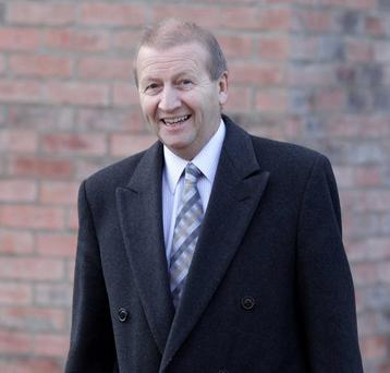 Dr Alan Lennon leaves the hearing at Killymeal House in Belfast on Monday