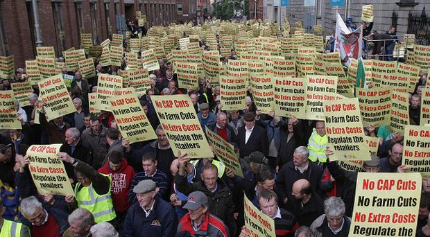 Thousands of farmers protest on the IFA's day of action outside Leinster House in Dublin