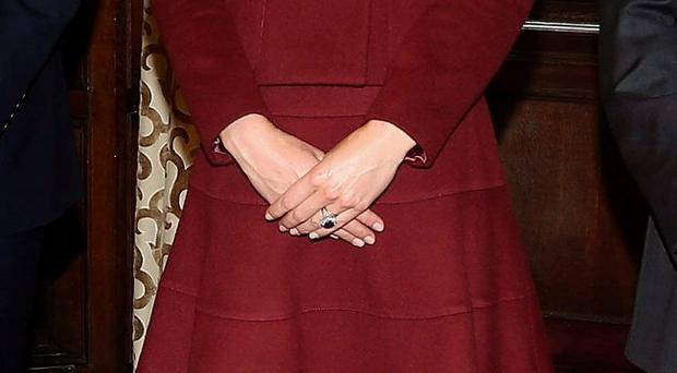 The Duchess of Cambridge in her wool suit by French clothing brand Paule Ka