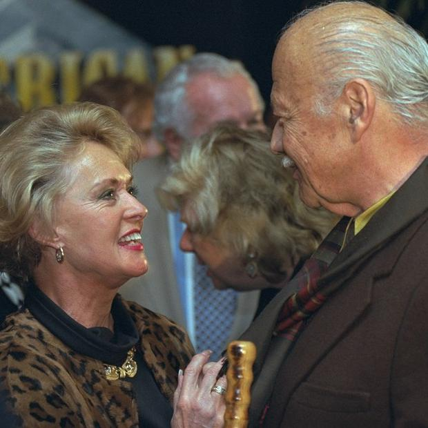 Turhan Bey with Tippi Hedren at the world premiere screening of 20th Century Fox: The First 50 Years