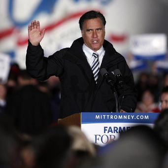 Mitt Romney speaks at a campaign event at the Shelby County Fairgrounds in Sidney, Ohio (AP/Mike Munden)