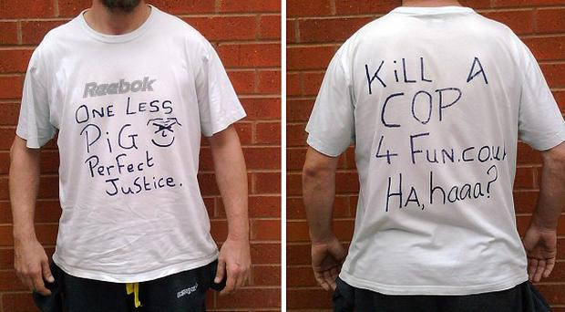 Barry Thew wore an anti-police T-shirt hours after the killings of two policewomen (Greater Manchester Police/PA)