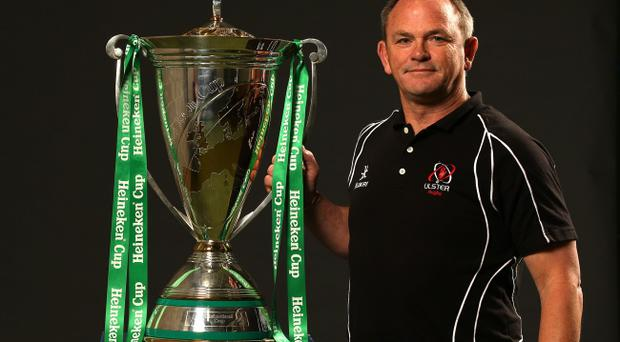 Ulster head coach Mark Anscombe with the Heineken Cup trophy