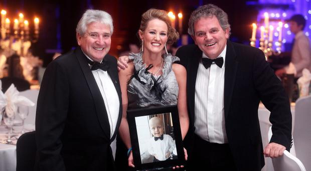 John Linehan, the host for the night, organiser Sarah McCarthy and sports reporter Adrian Logan