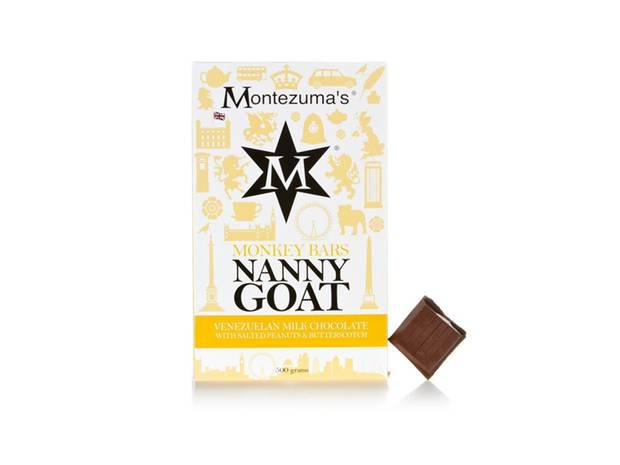 Montezuma's Nanny Goat Bar £13.99, montezumas.co.uk Montezuma's flavour combinations are always winners. This super-size rich Venezuelan milk chocolate bar contains salted peanuts with butterscotch – one of the most moreish blends yet.