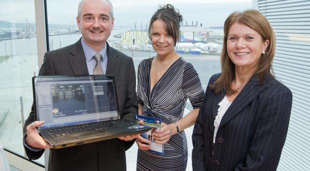 Peter Devine and Joan Condell from IndentiGait are pictured with Julie-Ann OHare (right) from main sponsor Bank of Ireland at the 2012 NISP CONNECT 25k Awards on Thursday 27th September 2012.
