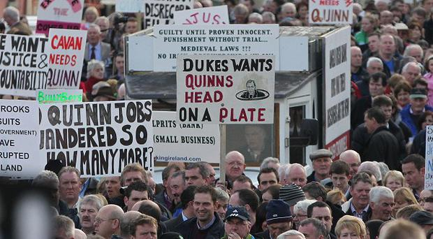 Thousands gather to support bankrupt businessman Sean Quinn at a rally in Ballyconnell, Co Cavan