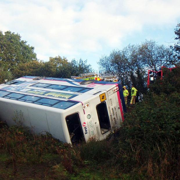 A double-decker bus full of college pupils crashed on the A350 between Upton and Lytchett in Poole, Dorset