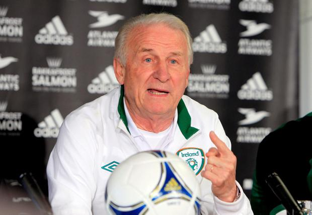 Republic of Ireland manager Giovanni Trapattoni during a press conference at the Torshavn stadium, Faroe Islands
