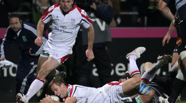 Paul Marshall scores his second try against Castres on Friday night