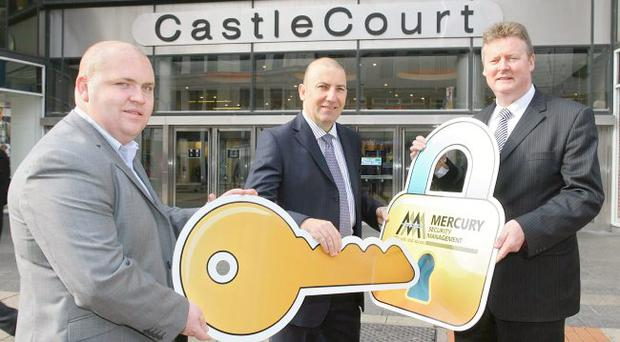 Northern Ireland's biggest independent security company Mercury Security Management has been appointed to provide a complete security solution to CastleCourt, one of the country's biggest and busiest shopping centres. Making sure that the Centre is safe and secure are (l-r) Mercury Security Regional Director (UK and Ireland) Liam Cullen, CastleCourt Centre Director Paul McMahon and CastleCourt Security Manager Stewart McConnell