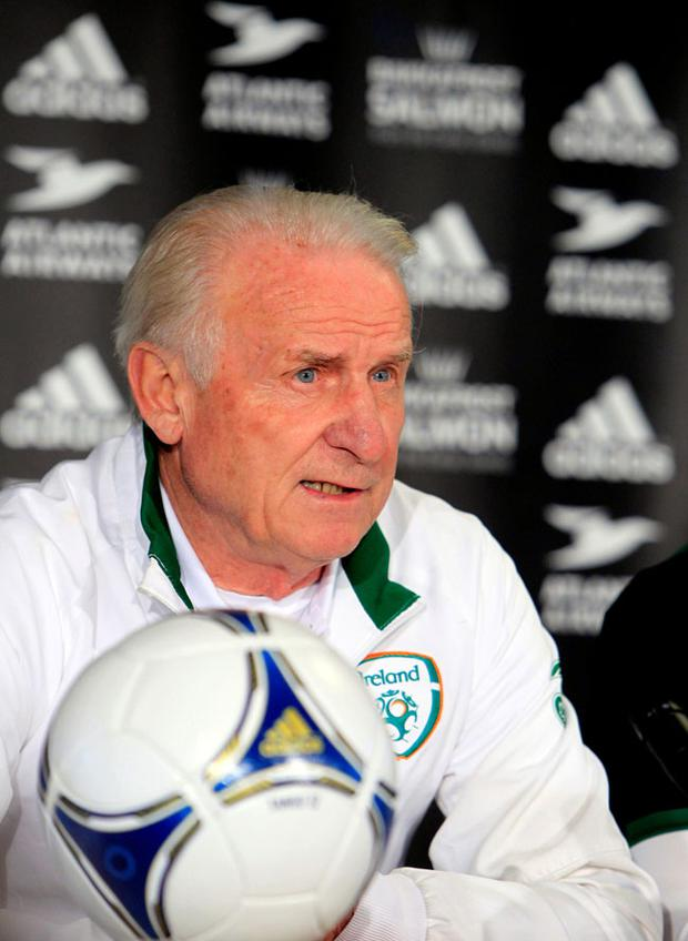 Ireland manager Giovanni Trapattoni during a press conference at the Torshavn stadium, Faroe Islands. PRESS ASSOCIATION Photo. Picture date: Monday October 15, 2012. See PA story SOCCER Ireland. Photo credit should read: PA Wire