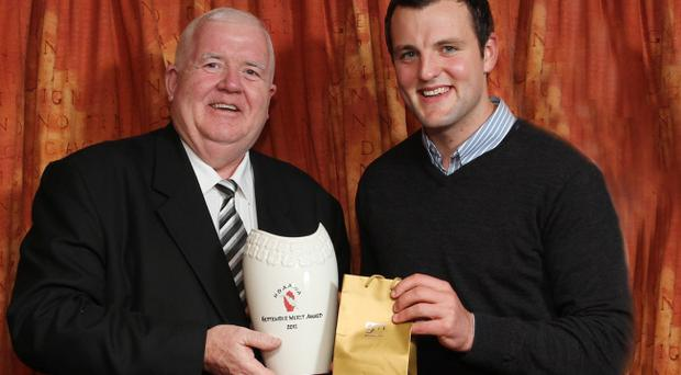 Donegal's Michael Murphy receives the Ulster GAA Writers' award from JP Graham