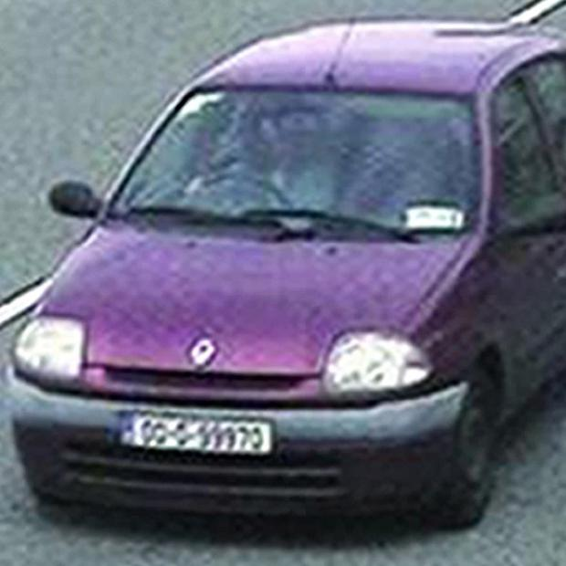 CCTV footage of Catherine Gowing's car, a plum/burgundy coloured Renault Clio bearing Irish registration plates