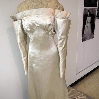 A white satin and lace wedding dress worn by Katharine Hepburn in The Lake