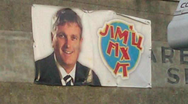 A poster erected in Co Down - featuring Jim Wells