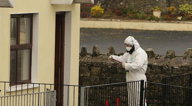 Forensic officers at the scene of a fatal shooting in the village of Golden, near Clonmel, Co Tipperary