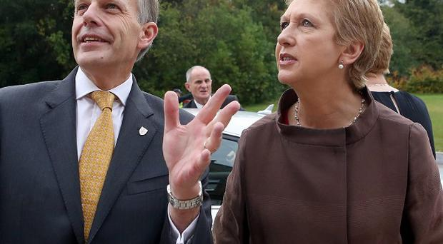 Queen's vice-chancellor Professor Sir Peter Gregson and Mary McAleese at Riddel Hall