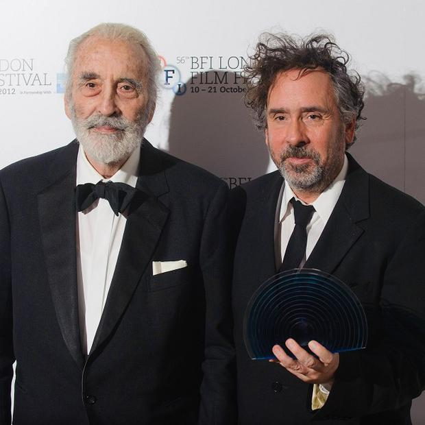 Sir Christopher Lee, left, after presenting director Tim Burton with the BFI Fellowship Award