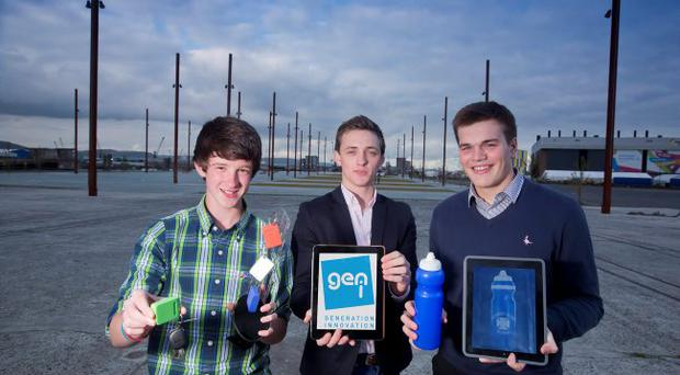 Entrepreneurial students John Neill (left) and Scott Devlin (right) demonstrate their innovations to mentor Andrew Fulton (centre) as they urge teachers, parents and businesspeople to nominate students to become this years exclusive members of Generation Innovation. Membership of the exclusive support programme and network for Northern Irelands brightest and best young people will commence with an annual event at Titanic Belfast on Tuesday, November 20. To download a nomination form, please visit: www.nisp.co.uk.