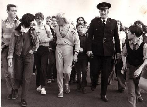 Jimmy Savile on a charity walk in Northern Ireland in June 1974