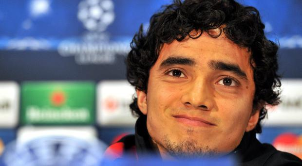 Manchester United's Rafael da Silva during a press conference yesterday at Old Trafford