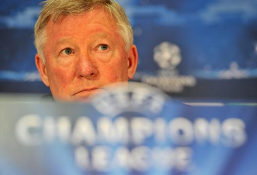 Manchester United manager Sir Alex Ferguson during yesterday's press conference at Old Trafford