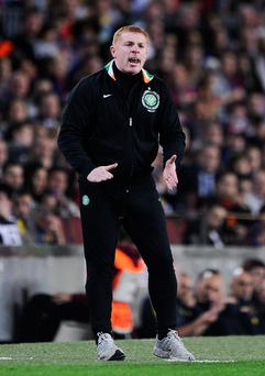 BARCELONA, SPAIN - OCTOBER 23: Manager of Celtic FC Neil Lennon reacts during the UEFA Champions League Group G match between FC Barcelona and Celtic FC at the Camp Nou Stadium on October 23, 2012 in Barcelona, Spain. FC Barcelona won 2-1. (Photo by David Ramos/Getty Images)