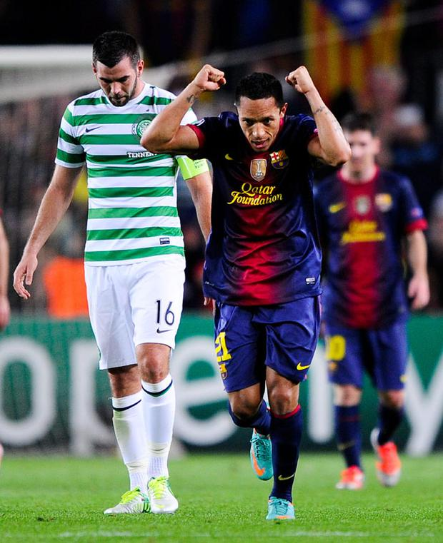 BARCELONA, SPAIN - OCTOBER 23: Adriano Correia of FC Barcelona celebrates after FC Jordi Alba of FC Barcelona scored his team's winning goal, during the UEFA Champions League Group G match between FC Barcelona and Celtic FC at the Camp Nou Stadium on October 23, 2012 in Barcelona, Spain. FC Barcelona won 2-1. (Photo by David Ramos/Getty Images)