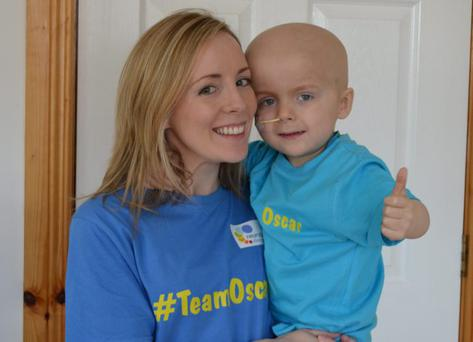 Oscar Knox pictured with mum Leona