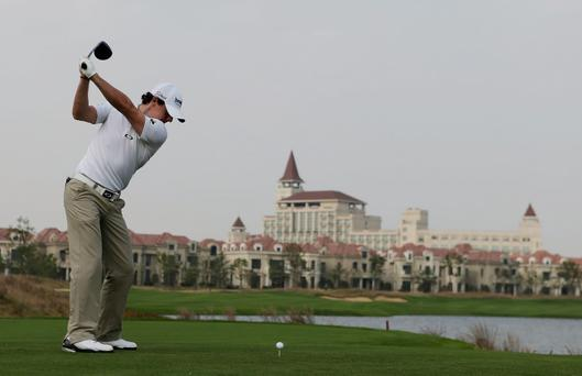 SHANGHAI, CHINA - OCTOBER 24: Rory McIlroy hits a shot during the pro-am prior to the start of the BMW Masters at the Lake Malaren Golf Club on October 24, 2012 in Shanghai, China. (Photo by Scott Halleran/Getty Images)