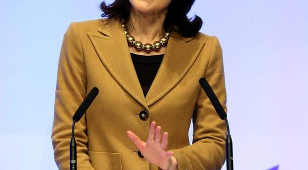 Theresa Villiers speaking at the Conservative Party conference on Monday in Birmingham