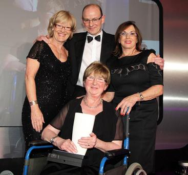 Belfast Telegraph Inspirational Woman of the Year 2011 Winner: Patricia Cardy with Wendy Austin, Andy Cardy and Agnes McCourt