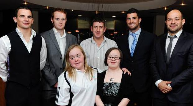 Winter Games bound Special Olympians Ryan Hill (centre), Lucy Best and Rosalind Connelly (front) flanked by (from left) Down gaelic footballers Danny Hughes and Benny Coulter, Leinster's Rob Kearney and Ulster hero Rory Best at fund-raiser