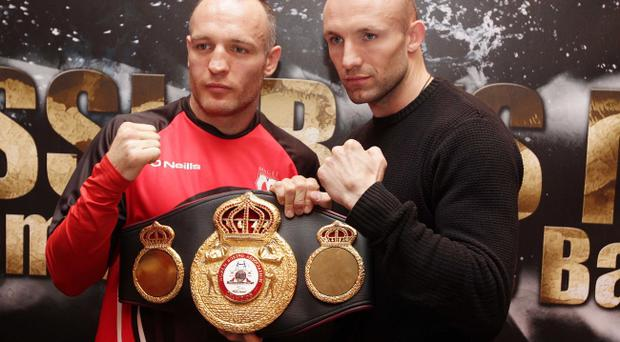 Brian Magee and Mikkel Kessler square up at the Europa Hotel