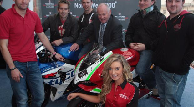©Press Eye Ltd Northern Ireland - 23rd October 2012 - Mandatory Credit - Picture by Matt Mackey/presseye.comMervyn Whyte MBE, Ms NW200 Kathryn Munis and riders WIlliam Dunlop, David Johnston, Alastair Seeley, Stephen Thompson and Michael Dunlop at the launch of the 2013 Vauxhall International North West 200 motorbike races.