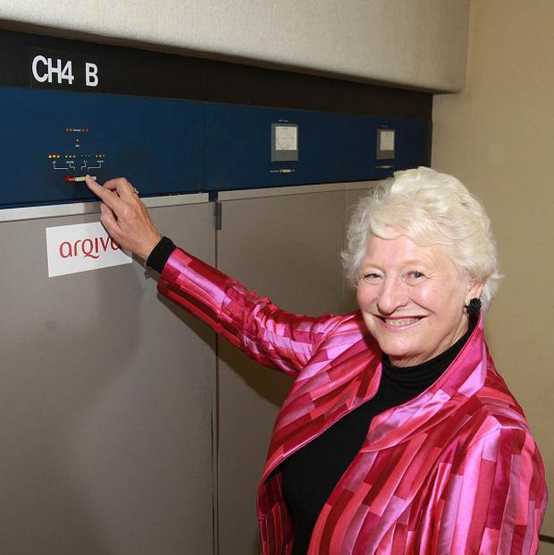 Dame Mary Peters turns off the final analogue switch at a transmitter in Belfast